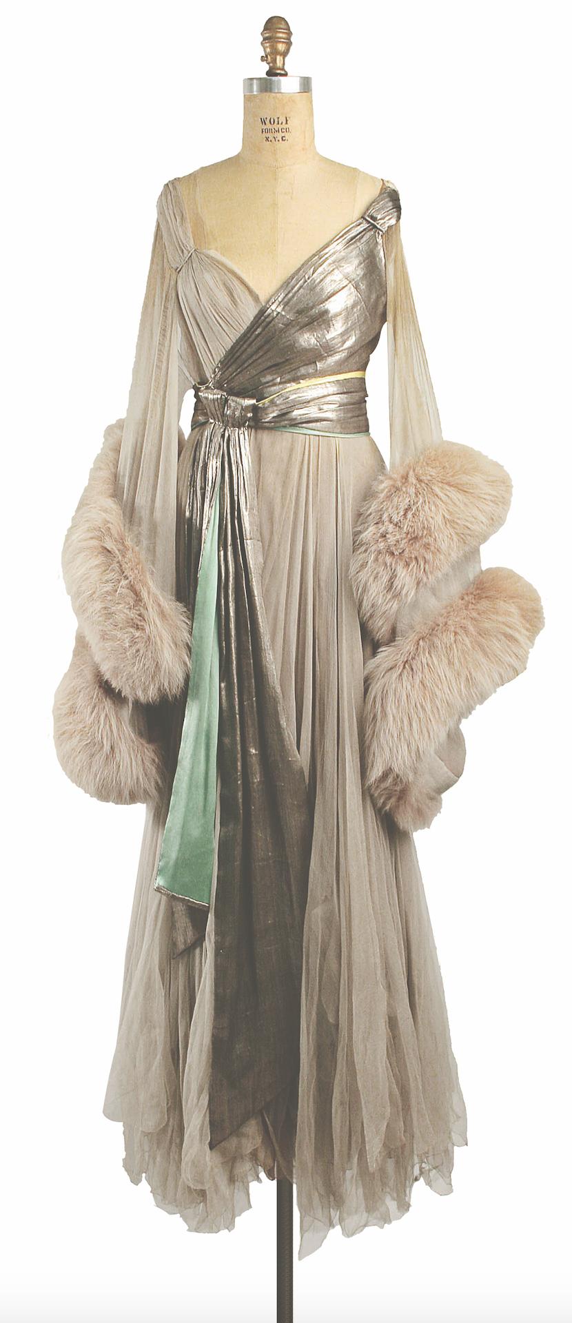 Silk, fur and metallic thread evening dress, c. 1920, by Lucile. The Metropolitan Museum of Art, New York. Gift of Irene Castle (Mrs Gerorge Enzinger), 1947 (CI47.57.1)